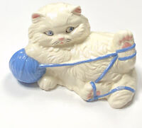 Vintage '97 Ceramic Kitten Kitty Cat White Blue Porcelain Playful Figurine Decor