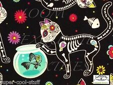 RPFFT88 Day Of The Dead Kitty Cat Fish Bowl Pet Floral Cute Cotton Quilt Fabric