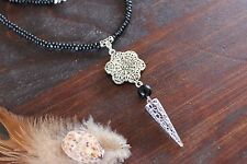 Lovely Handmade Black Wooden Bead & Silver Flower Spike Pendant Long Necklace
