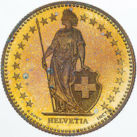1995 SWITZERLAND 2 FRANCS VIBRANT YELLOW TONED COLORING GEM UNC BU (MR)