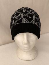 **Sz: OS Women's Michael Kors Metallic Logo Fold-over Cuff Beanie Black/Silver