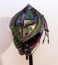 predator motorcycle helmet ship immediate light up insignia's and dreadssilver s