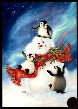 Christmas Penguins Snowman Scarf Holly Glittered Christmas Greeting Card - New