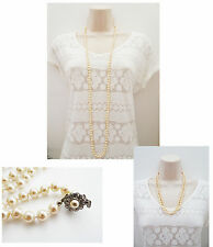 """Vintage Look 46"""" Long Rope Necklace in Cream Faux Pearl with Diamante Clasp"""