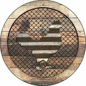 """Chicken Fence Fencing 12"""" Round Aluminum Metal Sign Rustic Home Farm Wall Decor"""