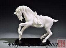 "12"" Chinese Dehua White Porcelain Folk 12-Zodiac Year Tang Horse Animal Statue"