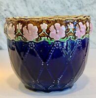 "Antique English Majolica Cobalt Floral Jardiniere Flower Pot Victory c. 1919 8"""