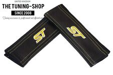 """2x Seat Belt Covers Pads Black Leather """"ST"""" Yellow Embroidery for Ford"""