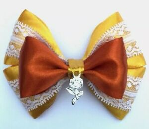 "glitter 5"" Girls Disney Belle Beauty And The Beast Gold hair bow //hair clip"