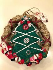 """12"""" Unique Hand Crocheted Detailed Christmas Wreath"""