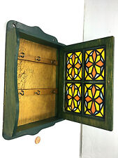 Vintage Handcrafted 6 Hooks Wall Mounted Wooden Key Holder Cabinet Stain Glass