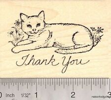 Cute Thank you Cat rubber stamp H12213 WM Kitten
