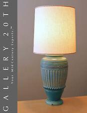 GREEK REVIVAL MID CENTURY TABLE LAMP! VTG BLUE GREEN LAMPEN LUMINAIRE 60'S RETRO