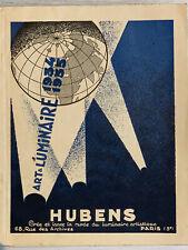 Catalogue HUBENS luminaire ART DECO lustre lampe applique 1930 verrier Degué