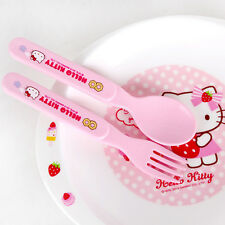 1 SET Sanrio Hello Kitty kids baby safety spoons forks kids plastic cutlery Cute