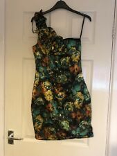 Ladies AX Paris Dress Size 8 One Shoulder Flower Green Multicoloured Tagged (232