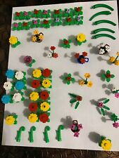 LEGO Green Yellow Red White Blue Pink Purple Flower Plant Leaves Stem LOT