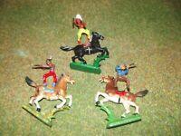 3 DDR Indianer- Cowboy mit 3 Pferd schwarz braun-grau-braun- weis Nr.309