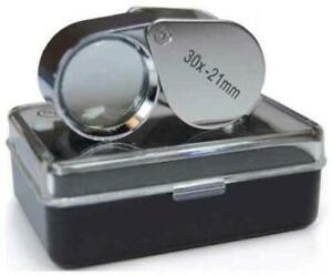 Jewellers Loupe Loop Eye Glass Magnifier 30x21 Hallmark Scrap Silver & Gold #L