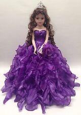 NEW Purple 20 inch 15 XV Anos Quinceanera Ruffle Porcelain Umbrella Muñeca Doll