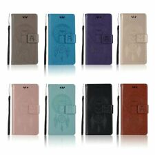 Magnetic owl Dreamcatcher leather stand Wallet flip Silicone phone cover case 25