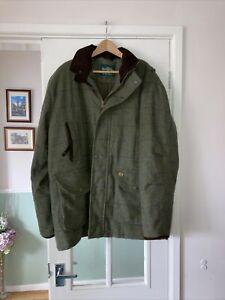 Alan Paine Men's Green Tweed Wool Shooting Hunting Coat Jacket Size 2XL