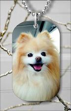 DOG POMERANIAN BREED DOG TAG PENDANT NECKLACE FREE CHAIN -kjl4Z