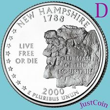 2000 D NEW HAMPSHIRE NH STATE QUARTER UNCIRCULATED FROM MINT ROLL