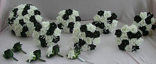 WEDDING PACKAGE ARTIFICIAL FLOWERS FOAM ROSE BOUQUETS BLACK WHITE BRIDE