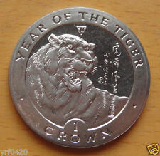 New listing Isle Of Man Crown,1998, Year of the Tiger, Tiger within circle