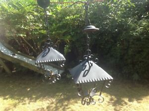 Pair of Vintage Porch Lantern Wrought Iron Outdoor Wall Light Gothic Scroll