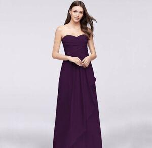 Davids Bridal Sweetheart Dress Gown Formal Bridesmaid Strapless Chiffon Plum 0