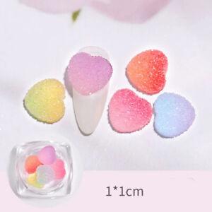 5pcs 3D  Heart Nail Art Soft Fudge Decorations Colorful Candy DIY Nails Manicure