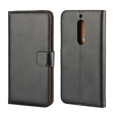 For Nokia 8 6 5 3 Black Genuine Leather Wallet Style Card Money Case Cover Stand
