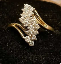 14k yellow gold total .30cts diamond ring LOT S