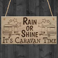 CARAVAN TIME Camping Campervan Friendship Funny Hanging Plaque Present Door Sign