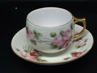 Antique Austrian hand painted Rose teacup/saucer Excellent condition 2 x 275 cup