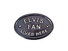 """SILVER """"ELVIS FAN LIVES HERE"""" - HOUSE DOOR PLAQUE WALL SIGN/GARDEN WITH LETTERS"""