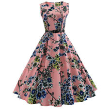 Zaful Hepburn Women Vintage 50s Retro Rockabilly Pinup Party Swing Dress+Belt