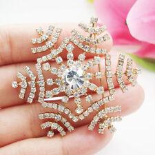 Gold Tone Fashion Snowflake Bride Flower Clear Rhinestone Crystal Brooch Pin