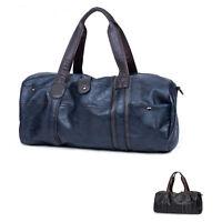 Fashion Leather Men Travel Messenger Bag Duffle Gym Shoulder Tote Bag Black Blue
