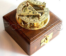"""3"""" SOLID BRASS SUNDIAL COMPASS  - West London- With Wooden Box"""