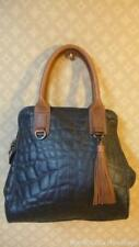 BCBGMAXAZARIA Large! BLACK Quilted Leather Domed Satchel Tote Bag Carryall Purse