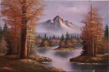 Dipinto olio su tela raffigurante paesaggio di montagna con lago alpino painting