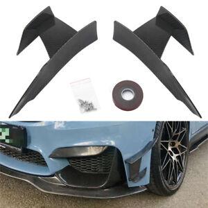 6Pcs Carbon Fiber Car Front Bumper Lip Splitter Fins Body Spoiler Canards Refit