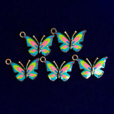 Blue Pink Butterfly Pendant Bead R52985 5Pcs Carved Tibetan silver Dripping Oil