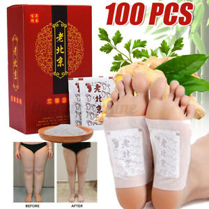 100Pcs Ginger Detox Foot Patches Pads Body Toxins Feet Slimming Cleansing Herbal