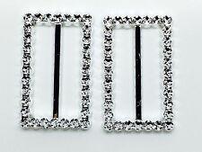 50 X rectangulares de plástico Hebilla Cinta Deslizador - 50 X 38 Mm (Diamante como Hebilla)