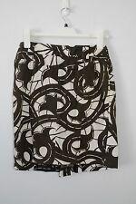 DIANE VON FURSTENBERG Pencil Straight Skirt Cotton Medium 10 Brown Cream