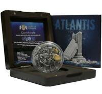 Niue $5 ATLANTIS - LEGENDARY LANDS Silver Coin 2019 Gold plated High Relief 2 oz
